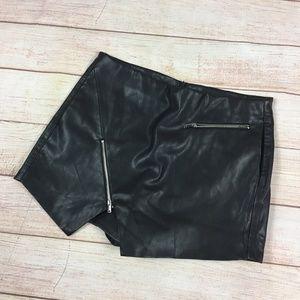 Zara Faux Leather Zippered Mini Skort